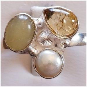 Jewelry - Three Semi Precious Gem Ring Size 9.50